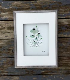 Pebble Art Genuine Sea Glass and Pebble Flowers in Shadow Box with Matting Modern Wall Art Abstract Contemporary Signed.