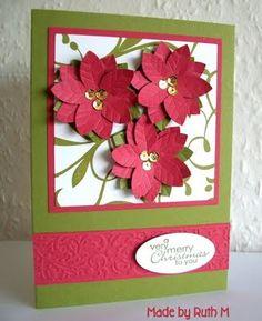 5-petal flower punch art poinsettia card