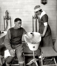 "Physiotherapy, c.1920s. Washington circa 1920. ""Walter Reed physiotherapy story."" Enlarge: http://www.pinterest.com/pin/287386019946715924/"