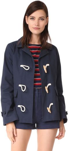 Toggle closures lend nautical detail to this twill Jenni Kayne jacket. Fold-over collar and 2 flap pockets. Button tabs at the cuffs. Silk lining. Winter Coats Women, Coats For Women, Jackets For Women, Clothes For Women, Summer Outfits Women, Trendy Outfits, Missoni, Diane Von Furstenberg, Curvy Fashion