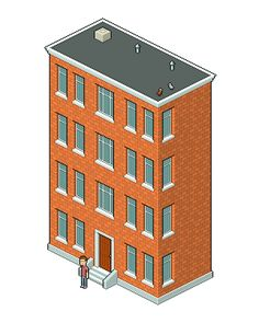 Create an isometric pixel art apartment building in adobe photoshop