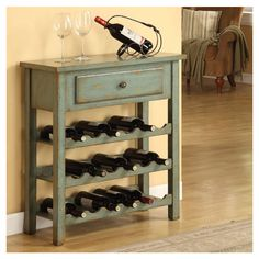 Cadet Wine Table/bar table in Moss Green ♥ Shabby Chic Kitchen, Shabby Chic Homes, Shabby Chic Wine Rack, Shabby Chic Furniture, Diy Furniture, Green Furniture, Small Wine Racks, Wine Rack Cabinet, Wine Table