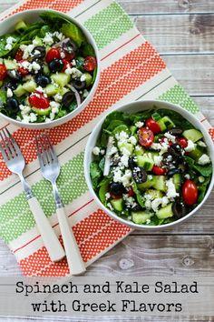 Spinach and Kale Salad with Greek Flavors and Feta-Lemon Vinaigrette found on KalynsKitchen.com