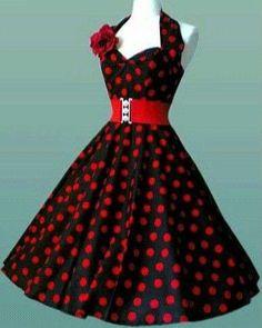 Vestidos pin-up: fotos modelos - Vestido pin-up topos y cinturón rojo