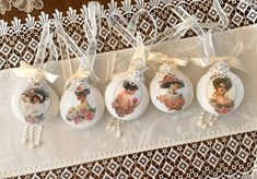 Victorian Decoupage Lace Ornaments Victorian Lace, Linens, Decoupage, Ornaments, Desserts, Gifts, Inspiration, Beautiful, Food