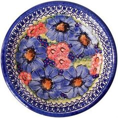 "Boleslawiec Polish Pottery Dinner Serving Plate in the pattern ""Isabelle"". #Polish #Pottery #PolishPottery #Flower"