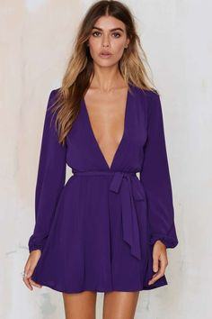 After Party Vintage Dance It Out Plunging Dress - Purple | Shop Clothes at Nasty Gal!