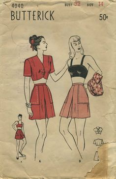 Vintage Sewing Pattern | Three Piece Playsuit | Butterick 4040 | Year 1947 | Bust 32 | Waist 26½ | Hip 35