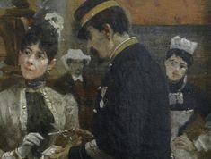 BEROUD Louis,1889 - Le Dôme Central de la Galerie des Machines lors de l'Exposition de 1889 - Detail 03 - La Parisienne élégante et le contrôleur des tickets - The elegant Parisian with the ticket-puncher -