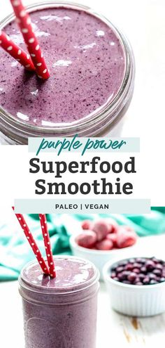 A superfood smoothie loaded with antioxidants thanks to berries and acai. Throw in spinach greens, flaxseed meal and some nut butter for healthy fats to keep you feeling full. Add your favorite protein powder for an on-the-go meal. Whether you like to enjoy smoothies in the morning as a healthy breakfast or a post-workout snack, this one is delicious. Vegan friendly. Dairy Free Recipes Easy, Whole Food Recipes, Snack Recipes, Kitchen Recipes, Drink Recipes, Vegan Recipes, Dinner Recipes, Healthy Drinks, Healthy Snacks
