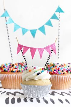 DIY Glitter Cupcake Bunting Decoration.
