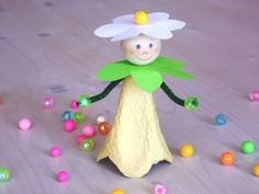 kids craft, from eggs carton, spring fairy, reuse