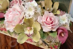 Gum paste sugar roses, orchids, peony, calla Lilly, hydrangea