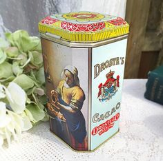 Vintage Droste Cocoa Dutch tin Vermeer storage container cookie jar, advertising, retro, red, kitchen, decor, tea, biscuit, nostalgia by WonderCabinetArts on Etsy https://www.etsy.com/listing/221250371/vintage-droste-cocoa-dutch-tin-vermeer