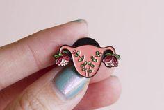 Uterus Enamel Pin TINY Feminist Enamel Pin- Blooming Uterus Feminist Gift Cuterus Women' Rights Reproductive Rights Lapel Pin Girl Power Art