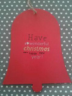 Houten kerstklok met tekst