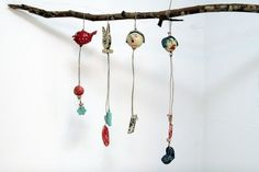could you do this in polymer clay!? .... cool Friends - Ceramic Miniature on String by etsy artist talma vardi