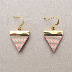 Leather Earrings  Pink Triangles with Mint Stripes by tovicorrie, $22.00