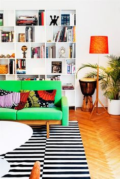 color in mid century modern home in Sweden