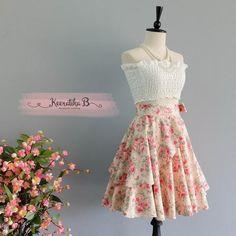 Summer's Whisper Floral Skirt Spring Summer Sweet Pale Peach Floral Skirt Party Cocktail Skirt Wedding