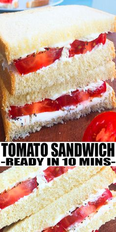 TOMATO SANDWICH RECIPE- Classic, Southern, quick and easy tomato sandwiches, homemade with simple ingredients in one plate or pan in 10 minutes. Loaded with mayonnaise  (mayo) and fresh tomatoes. No baking or cooking required. Can also add sun dried tomatoes, bacon and lettuce. Can also use fried green tomatoes or grilled/ roasted tomatoes. From OnePotRecipes.com #tomatoes #sandwich #dinner #onepotmeal #onepotrecipes #30minutemeal #30minuterecipes