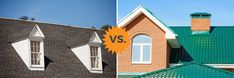HomeAdvisor's Metal Roof vs Shingles Guide compares pros, cons, differences and costs of metal shingle or panel roofing versus asphalt shingle roofs. Metal Roof Over Shingles, Metal Roof Cost, Asphalt Roof Shingles, Metal Roofing Systems, Roofing Options, American Roofing, Architectural Shingles, Cool Roof, Image House