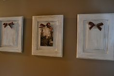 How creative are these from a cabinet door, paint, magnetic clip, ribbon and pictures