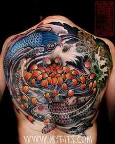 Koi Back Tattoo by Jess Yen - Kois in ying yang circle with chrysanthemum flower tattoo Tattoo Pez, Body Art Tattoos, Cool Tattoos, Tatoos, Koi Tattoo Design, Tattoo Girls, Tattoos For Guys, Tattoo Life, Ying Yang