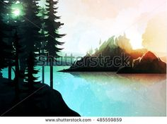 Nature landscape, mountain forest and lake, imitation watercolor style. Vector natures hills, tree in rivers. Summer green background. Poster Travel. National Park. Sunrise scenic views of nature
