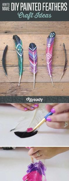 Cheap and Easy Crafts for Teens | DIY Painted Feathers by DIY Ready at http://diyready.com/27-easy-diy-projects-for-teens-who-love-to-craft/: