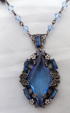 Vintage 1920s Czech Blue Glass Enamel Flower Necklace Pendant
