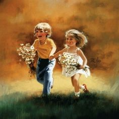 Wonderful childhood paintings by Donald Zolan. Donald Zolan is America's Leading Children's oil painting specialist. Happy Children's Day, Happy Kids, Happy Family, Artists For Kids, Art For Kids, Art Children, Children Pictures, Art Abstrait, Painting Art