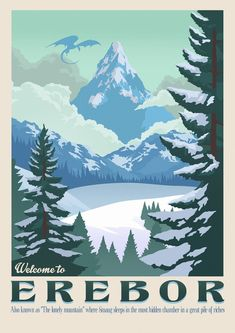 Poster Discover Erebor wall art The Lonely mountain The Hobbit Smaug dragon Bilbo Bolson Tolkien retro travel Lord of the rings Middle Earth Thorin Smaug Dragon, Art Hobbit, Hobbit Bilbo, Gandalf, Art Mural, Wall Art, Midle Earth, Illustration Photo, Into The West
