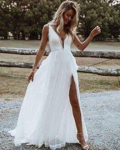 V-neck Lace White Beach Simple Wedding Dress with Side Slit White Beach Wedding Dresses, Slit Wedding Dress, Rustic Wedding Dresses, Best Wedding Dresses, Bridal Dresses, Beach Wedding Attire, Simple Beach Wedding, Lace Dresses, Destination Wedding Dresses