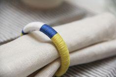 diy napkin rings using shower curtain rings. genius!   http://www.thesweetestoccasion.com/2012/02/diy-colorblock-napkin-rings/
