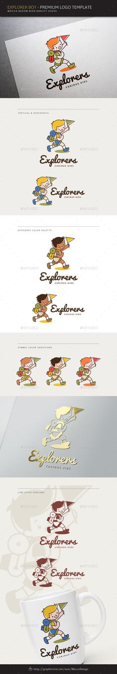 Explorers - Explorer Boy Logo by MoccaDesign Description Explorer Boy is a professional logo template suitable for any business or personal identity related to adventure, moun