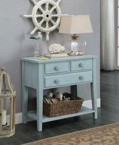 Coastal Three Drawer Console Table - Blue Rub - Christopher Knight Home New Furniture, Furniture Deals, Sofa End Tables, Entryway Tables, Dream Beach Houses, Low Shelves, Shelf, Hearth And Home, Drawer Handles