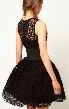 """""""O-neck Sleeveless Fluffy Hem  Black Lace Party Dress"""""""