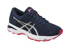 Asics. Deportivas azul marino de mujer Running Shoe Brands, Running Shoes, Asics Fashion, Baskets, Asics Gt, Asics Women, Blue And Silver, Things That Bounce, Sneakers