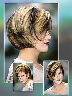 Bob hair style hair with highlight in blackand blonde