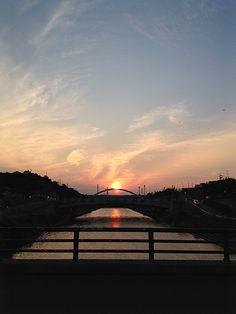 シンメトリーの夕日 Sunset of symmetry Hamamatsu, Nihon, Japan, Celestial, Sunset, City, Outdoor, Lights, Outdoors