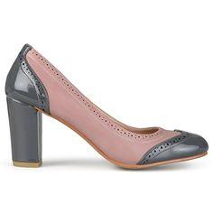Amazon.com | Brinley Co. Womens Round Toe Classic Two-tone Chunky Heel Pumps | Pumps