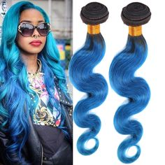 Grade 6A Blue Ombre Body Wave Real Human Hair Extension Brazilian Hair Wefts #WIGISS #HairExtension