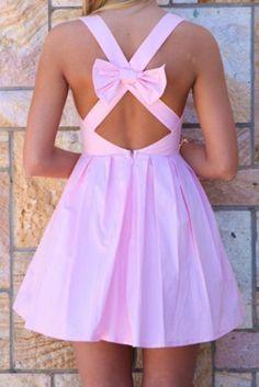 Wheretoget - Light pink backless bow dress