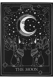 dark art THE MOON. Purr to the moon - and back.- Size 225 cm x 150 cm / x Complete your crypt in style with this tarot inspired tapestry; The Moon evokes some purr magical vibes with a decorative large-scale print. P Geometric Tatto, Moon Tapestry, Witch Aesthetic, Aesthetic Makeup, Travel Aesthetic, Moon Art, Moon Child, Book Of Shadows, Stars And Moon