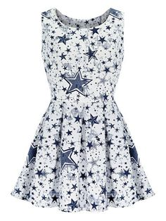 Monochrome, Star Print, Tie Waist, Sleeveless, A-line Dress
