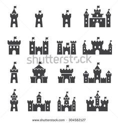 Stock Images similar to ID 251890921 - castle icons set.