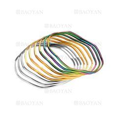9 piezas pulseras de moda de tres colores en acero-SSBTG264202