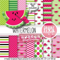 Digital Paper Watermelon party Hot Pink Fuchsia black green clip art Polka Dots Chevron for invitations baby shower scrapbooking pool party