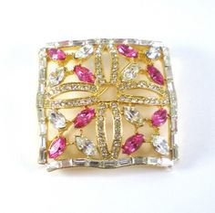 Vintage Rhinestone Brooch Pin Pink Gold Clear Rhinestones Geometric Square  Jewelry   Yum! I want cake! This beautiful brooch looks good enough to eat! Pink marquise and white round and baguette rhine